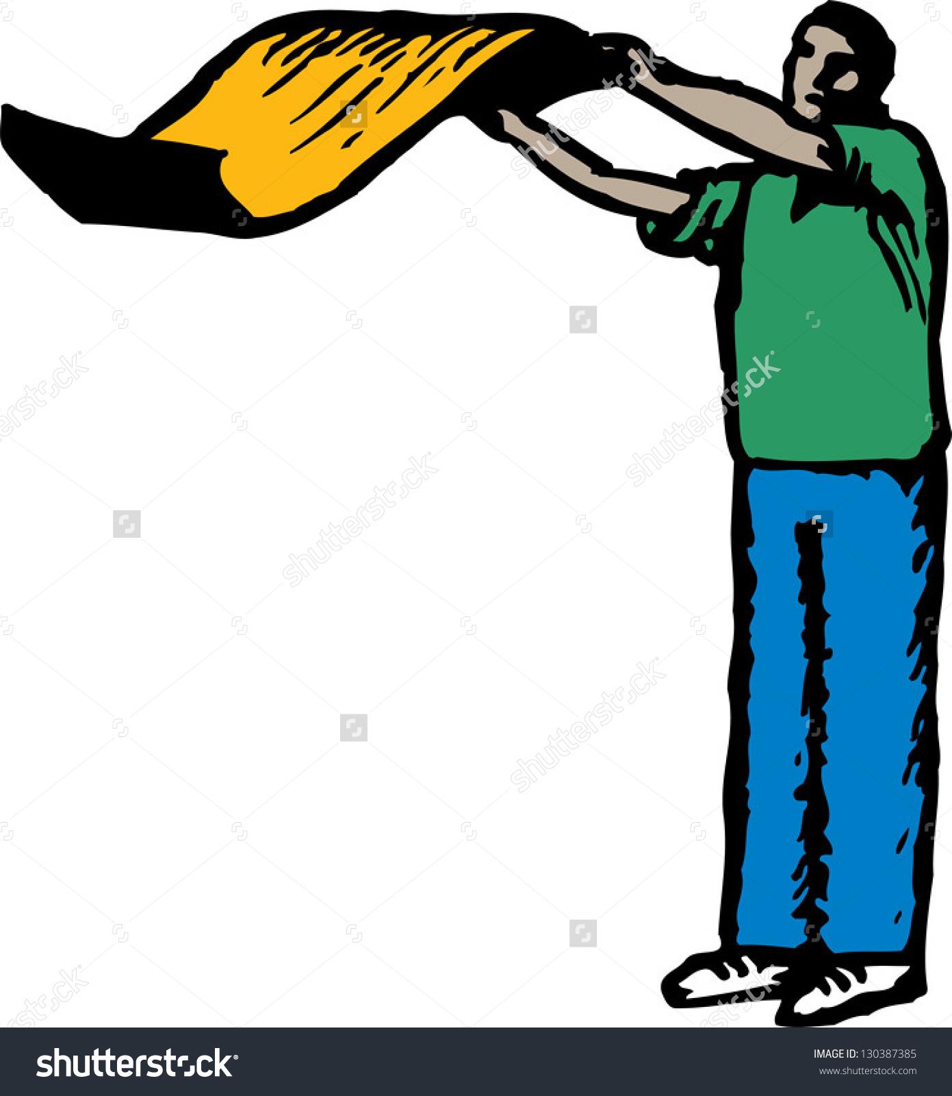 Vector Illustration Man Shaking Rug Stock Vector 130387385.