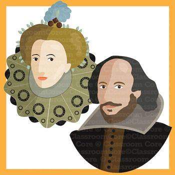Clip Art: Shakespeare, Renaissance Era, Queen Elizabeth, Globe.