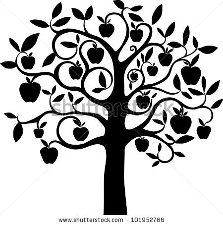 Apple tree Isolated apple tree with leaves and fruits clipart.
