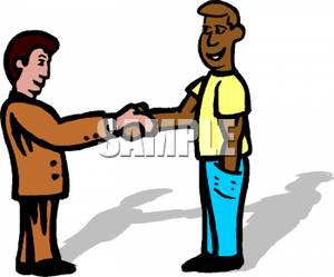 Art Image: Friends Shaking Hands.