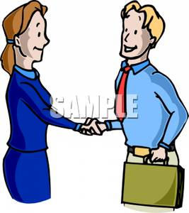Businessman and Woman Shaking Hands Clipart Picture.