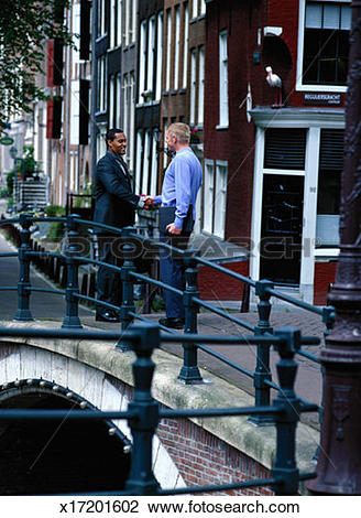 Clip Art of Businessmen Shake Hands on Bridge, Amsterdam x17201602.