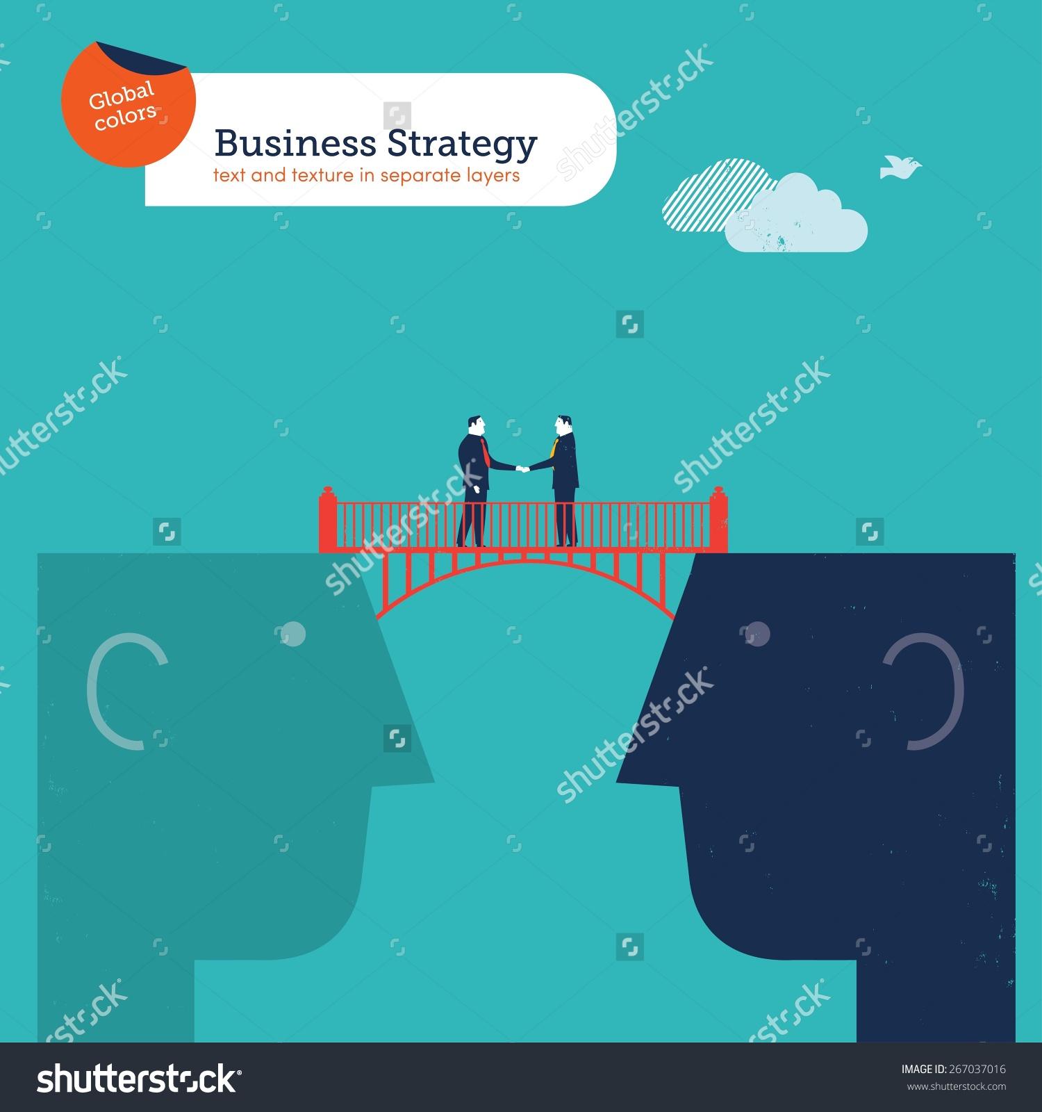 Businessmen Shaking Hands On A Bridge Between Two Heads. Vector.