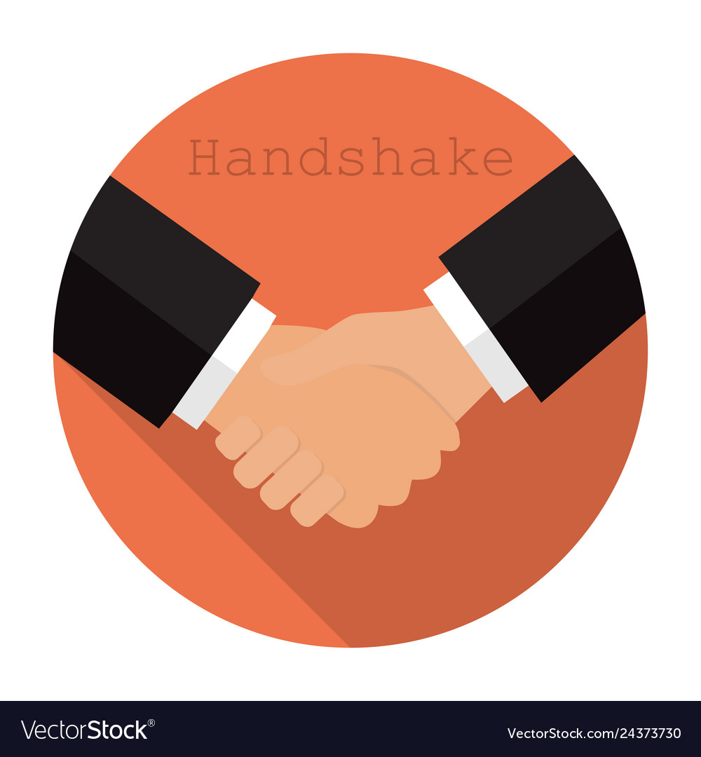 Logo shaking hands in a flat style.