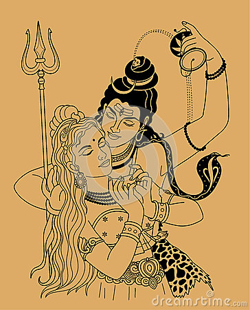 Shiva And Shakti Stock Vector.