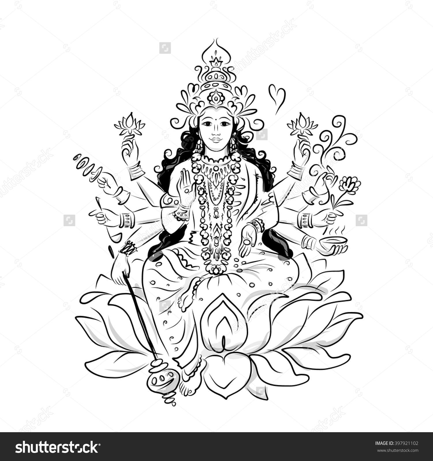 Indian Goddess Shakti Sketch Your Design Stock Vector 397921102.