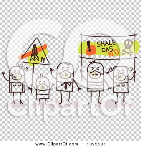 Clipart of a Sketched Group of Stick Protestors Against Shale Gas.