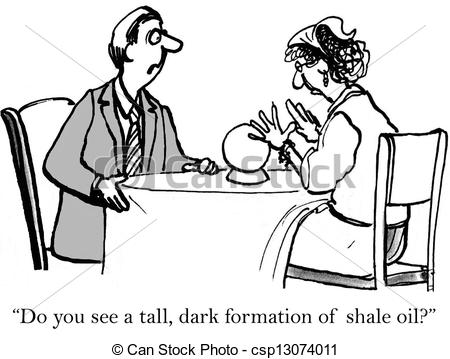 Clipart of Do you see any shale oil in crystall ball.