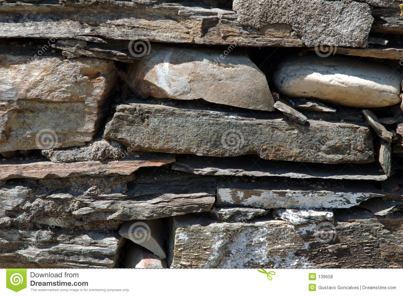 Shale Stone Wall Royalty Free Stock Photos.