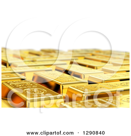 Clipart 3d Gold Bar Seen With Shallow Depth Of Field.