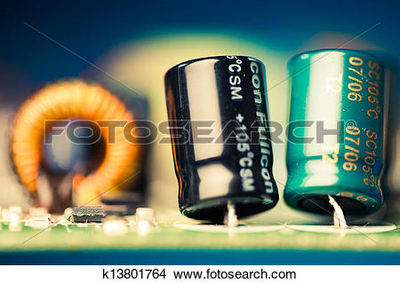 Stock Photo of electronic components on a printed circuit board.