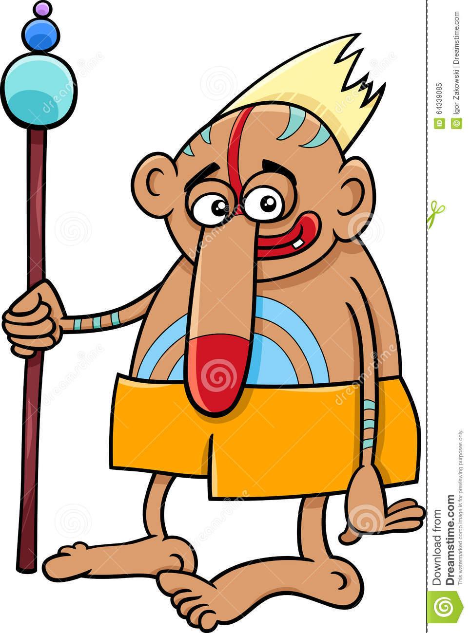 Tribal Shaman Fantasy Character Stock Vector.