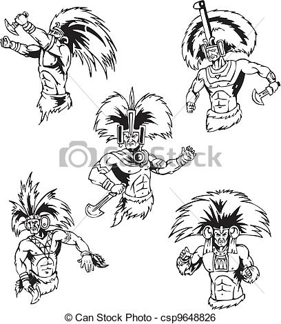 Clipart Vector of Native American Shamans.