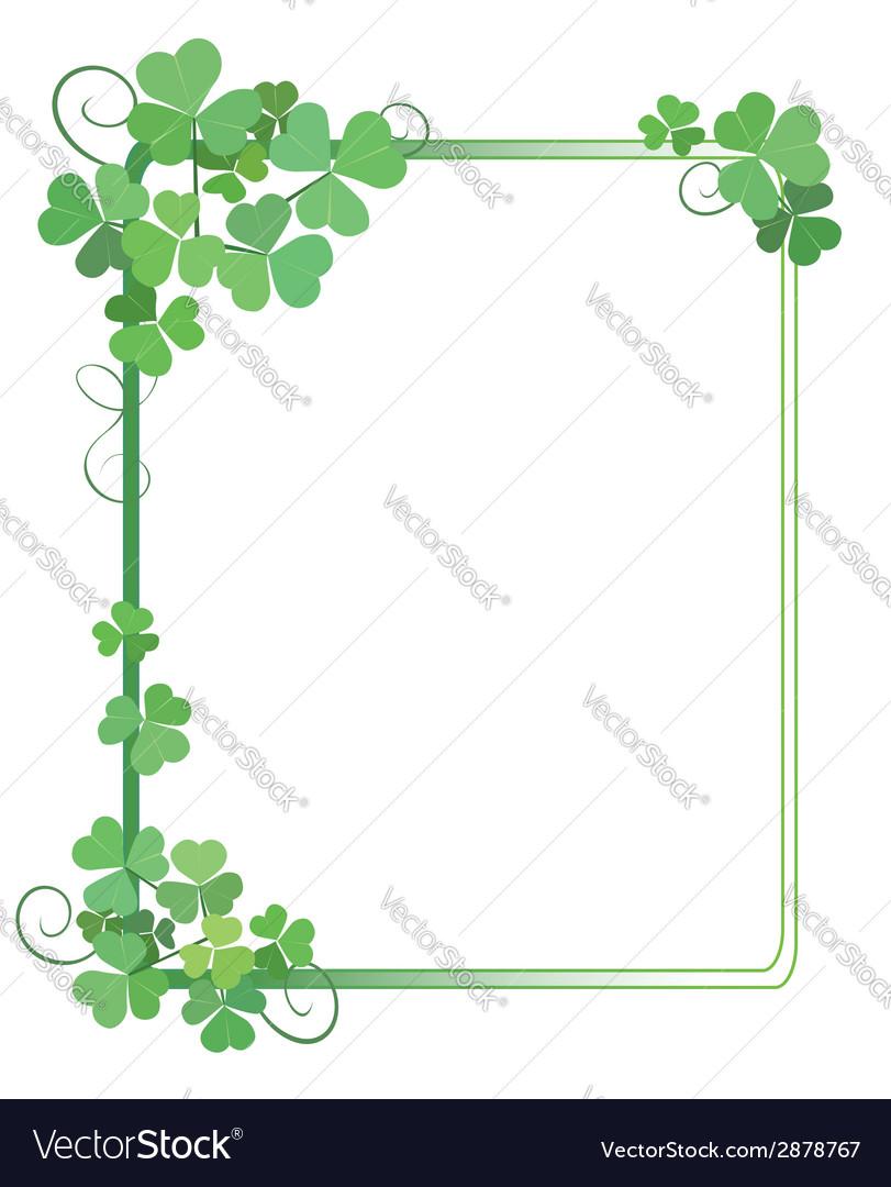 Decorative green frame with shamrock.