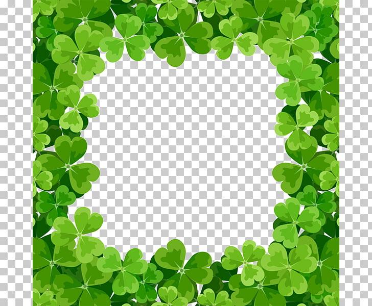 Shamrock Saint Patricks Day frame , Green Clover Square.