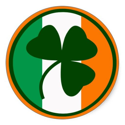 Irish logo, shamrock on flag colors classic round sticker.