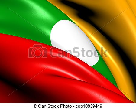 Drawing of Flag of Shan State. Close Up. csp10839449.