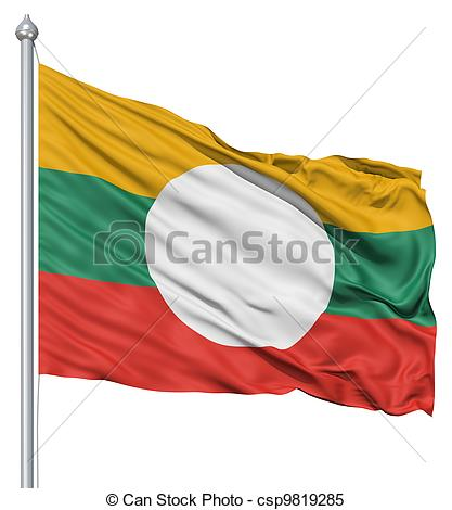 Stock Illustrations of Waving flag of Shan State.