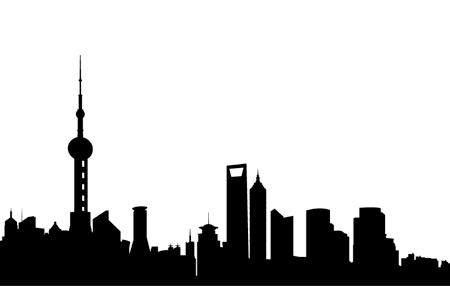 Shanghai skyline clipart.