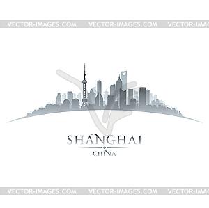 China city skyline silhouette white.