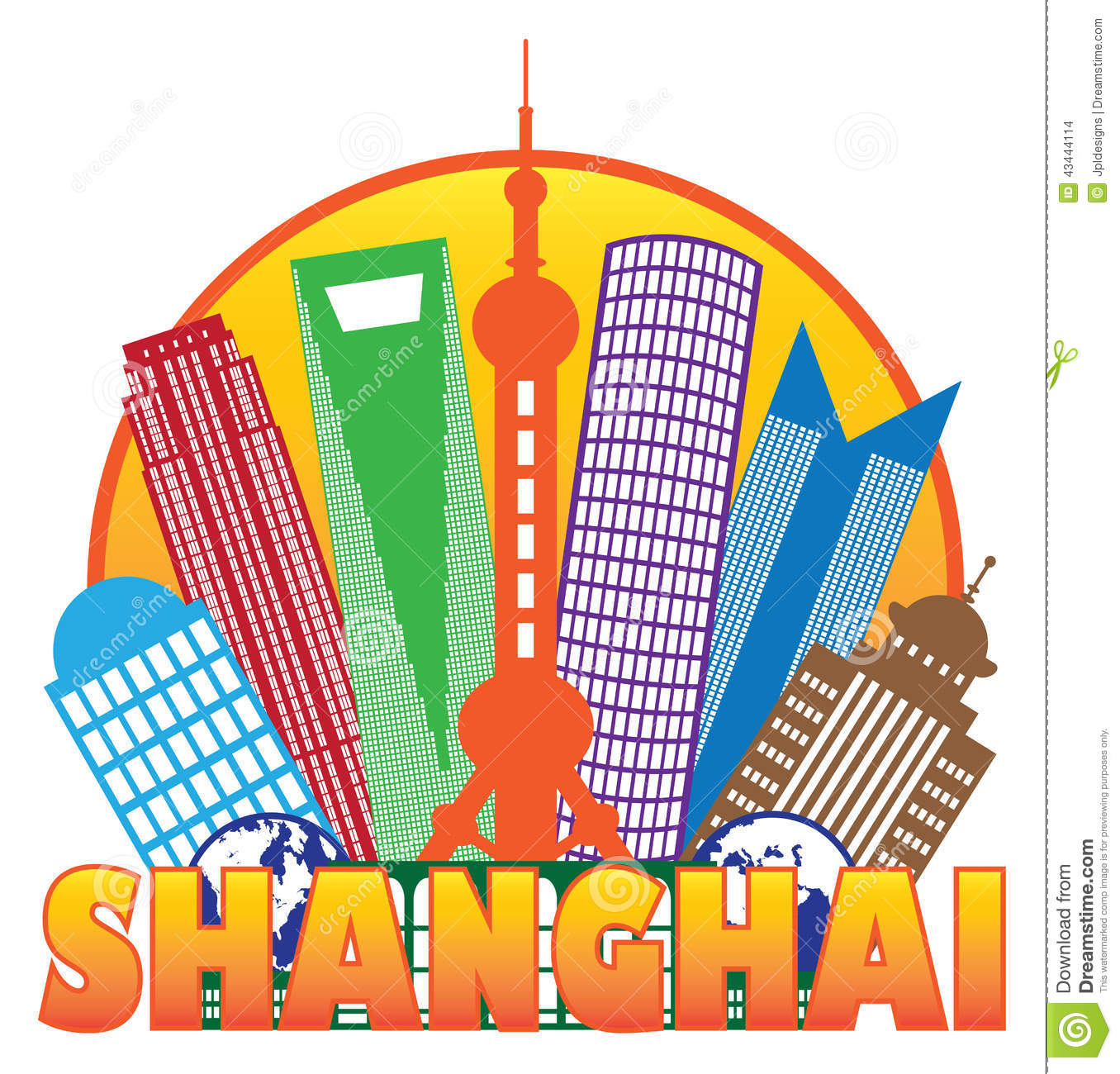 Shanghai Vector Skyline Stock Vector.