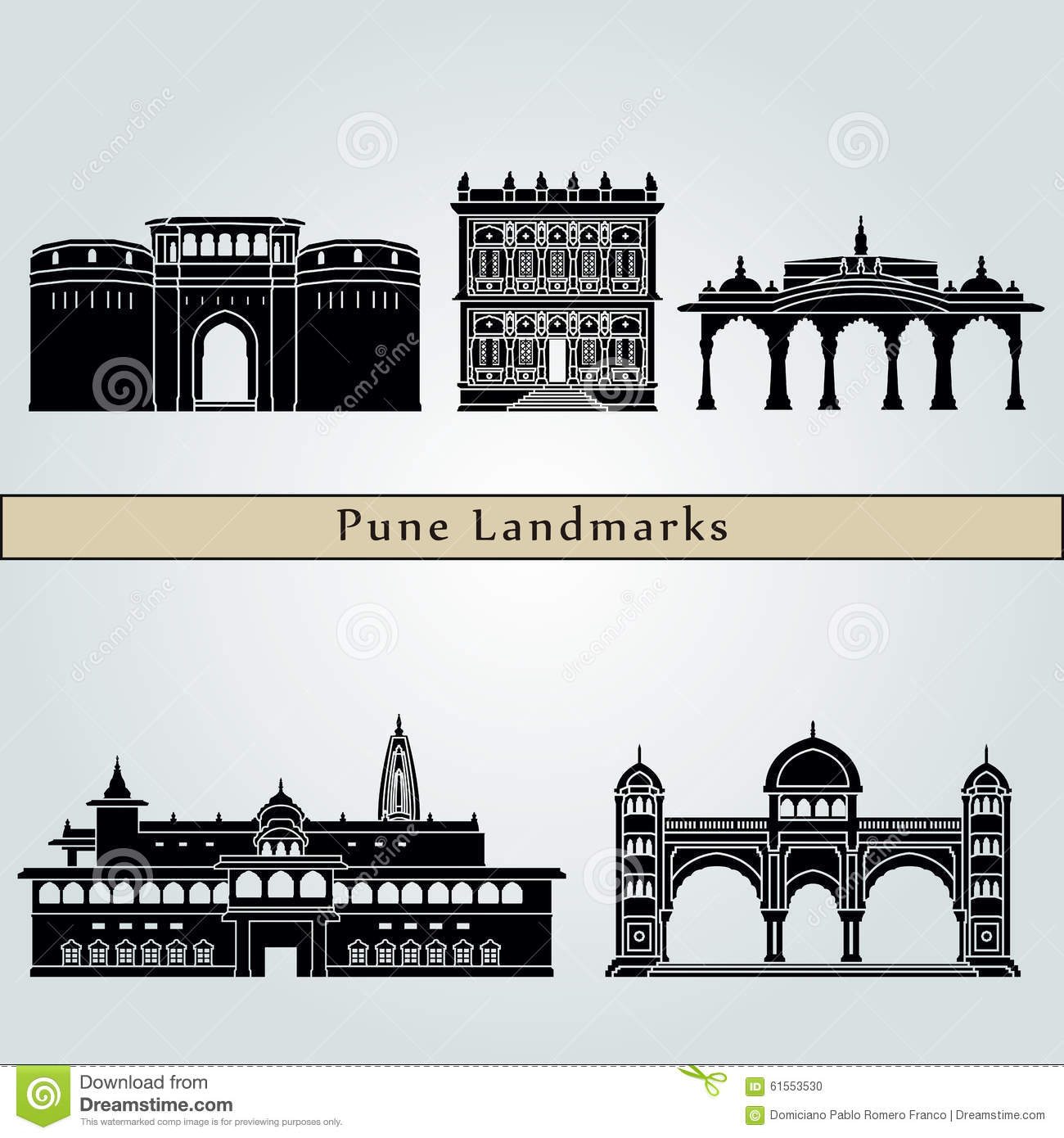 Pune Landmarks And Monuments Stock Vector.