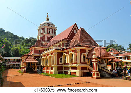 Stock Image of Hindu Temple looking like a church in Goa, India.