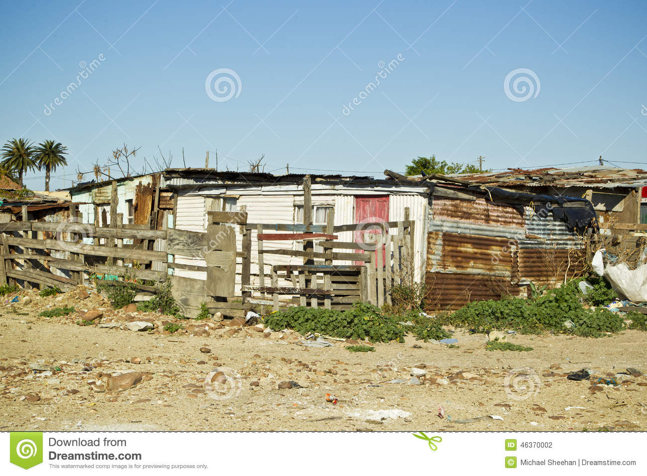 Shanty Town Corrugated Iron Houses Stock Photo.