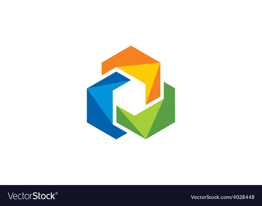 Abstract 2D circle color shape logo.