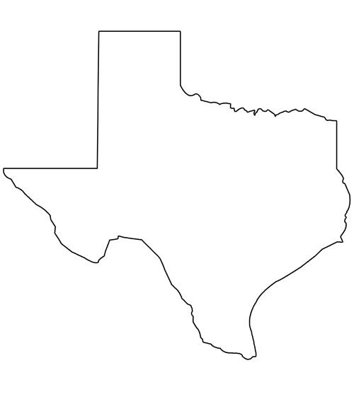 Printable Shape of Texas from PrintableTreats.com.