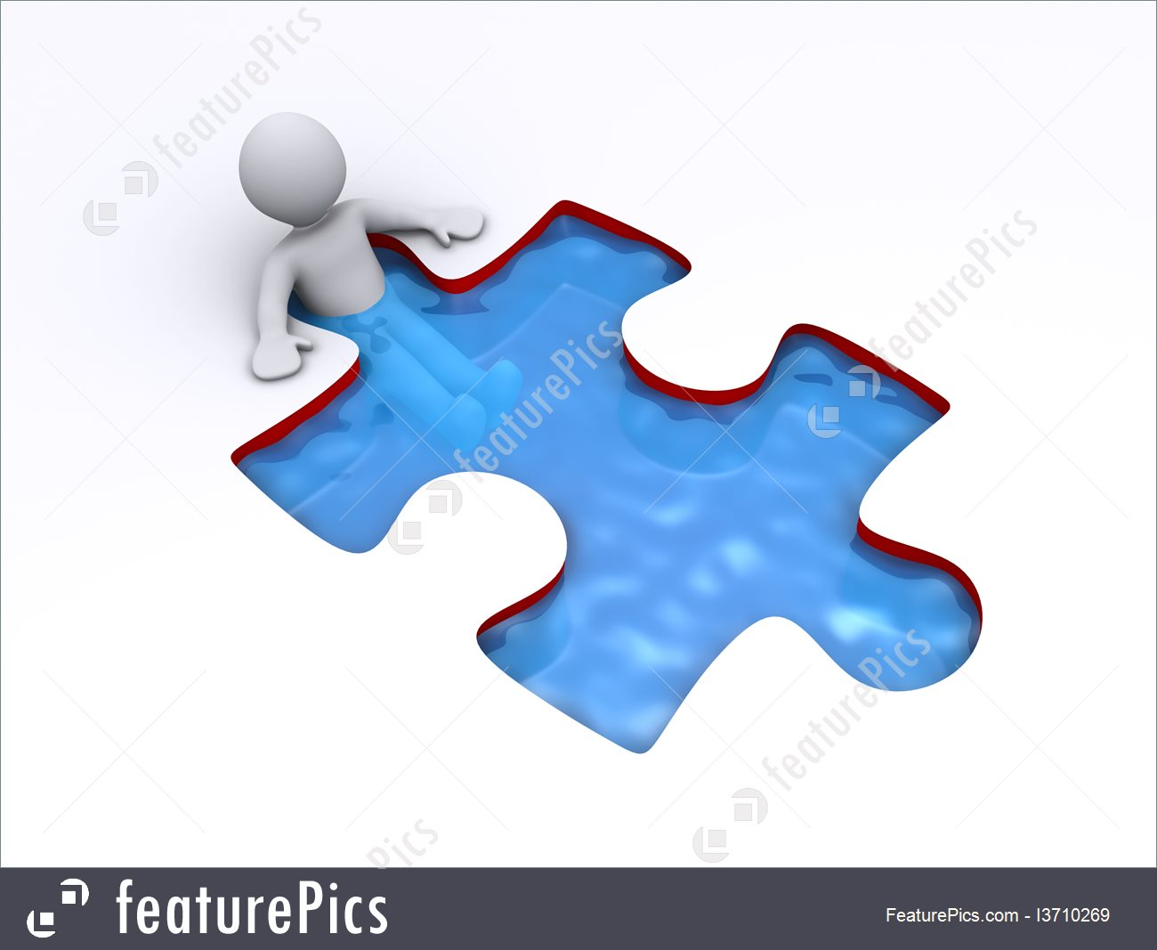 Illustration Of Person Is Successful Inside Puzzle Shaped Pool.
