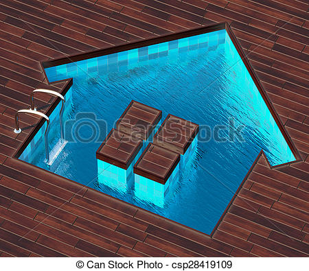 Stock Illustration of Shaped pool house.