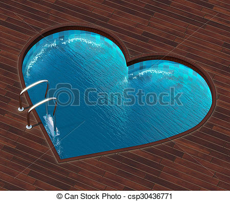 Stock Illustrations of Shaped pool heart.