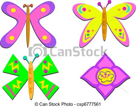 Vector Clip Art of Mix of Shapely Butterflies and Asia.