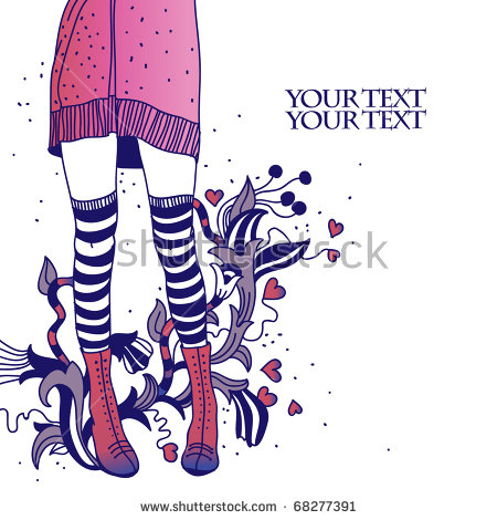 Vector Background With Shapely Legs In Striped Stockings And Hand.