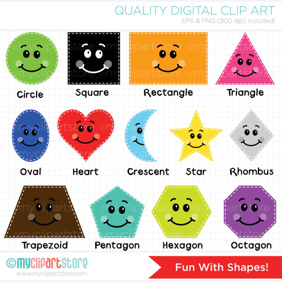 Clip Art Cartoon Shapes Clipart.