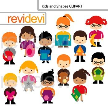 Kids and Shapes Clip Art set includes 12 cute graphics. This.