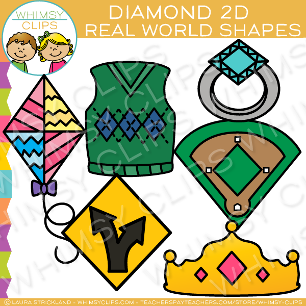 Diamond 2D Shapes Real Life Objects Clip Art.
