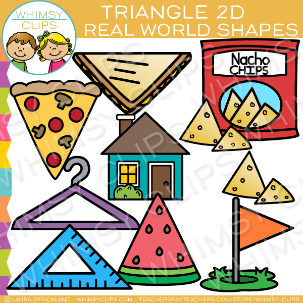 Triangle 2D Shapes Real Life Objects Clip Art.