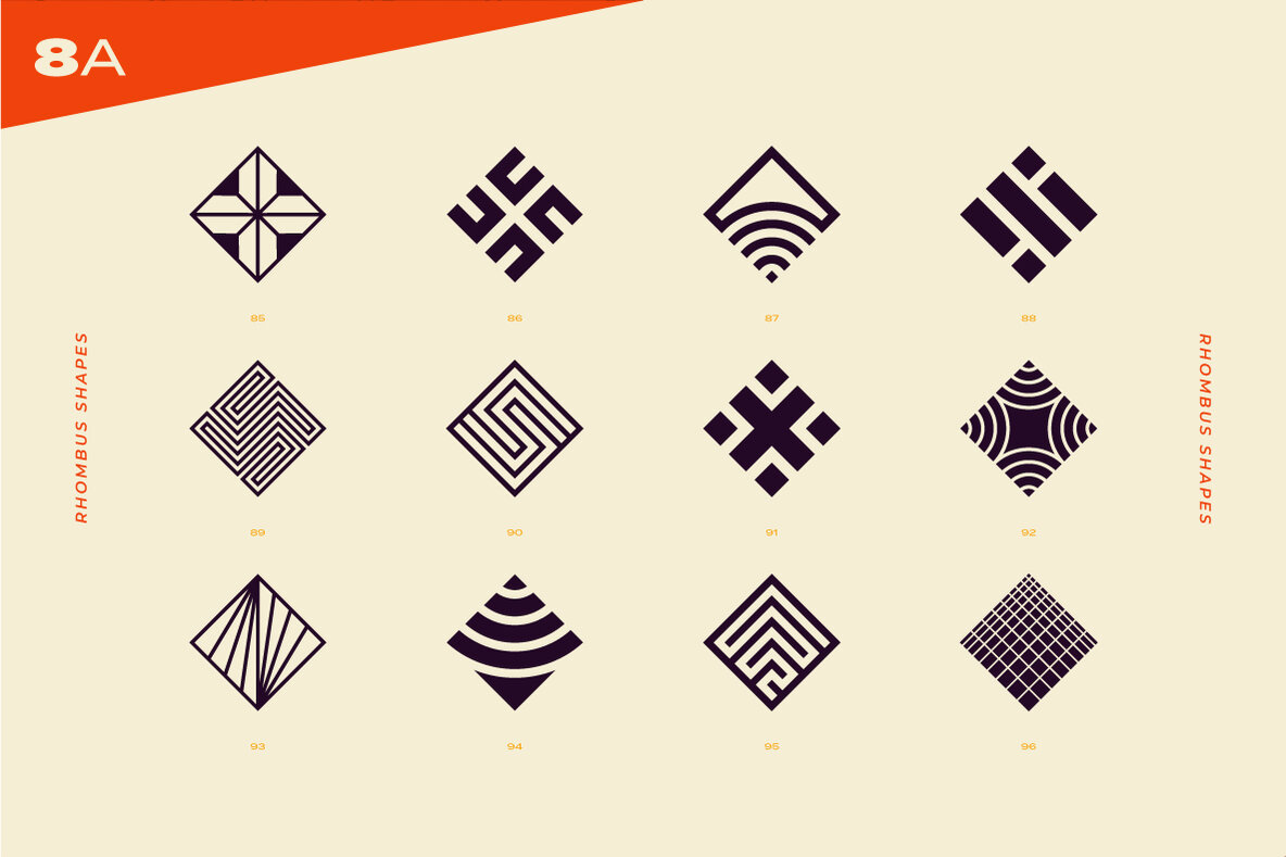 96 Abstract Logo Marks & Geometric Shapes Collection.