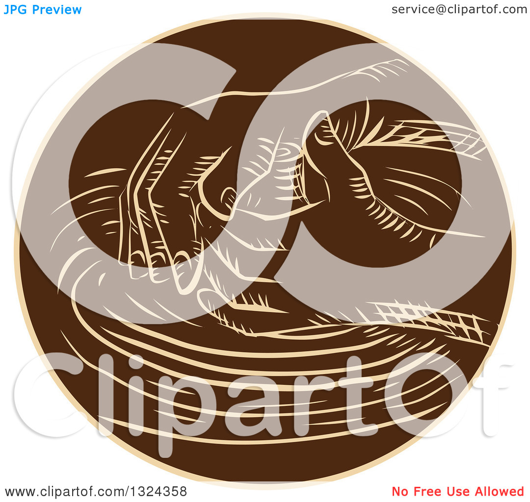 Clipart of Retro Engraved or Sketched Hands Shaping Clay on a.