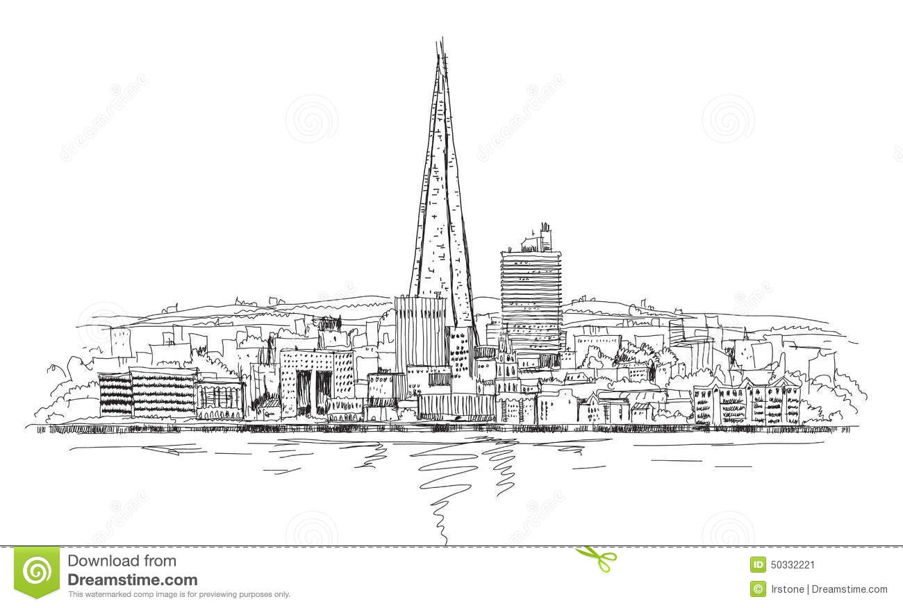 London Arena And Shard Of Glass, Sketch Collection Illustration.