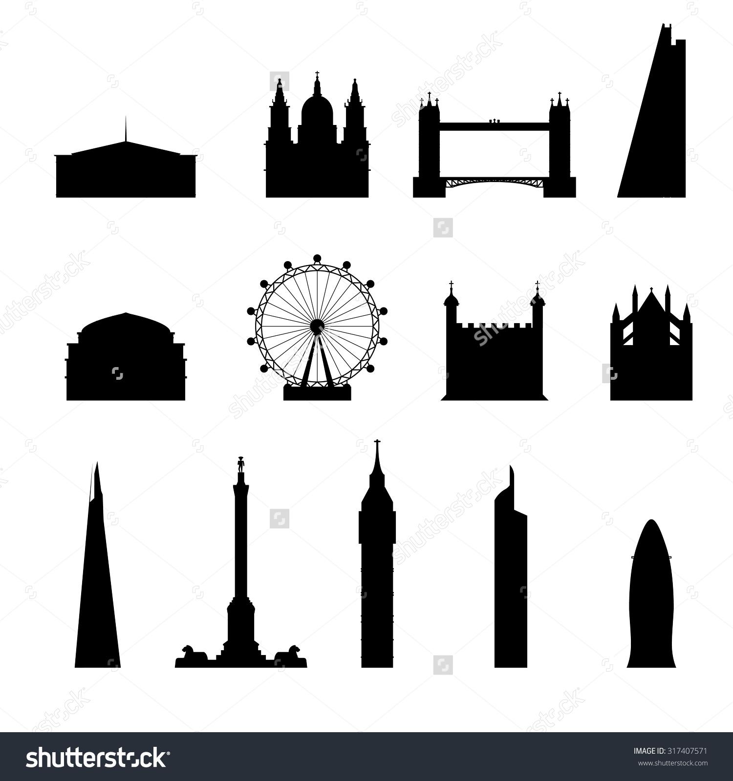 Icon London Set Silhouettebridge Big Ben Stock Vector 317407571.