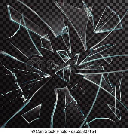 Clipart Vector of Realistic Shards Of Transparent Broken Glass.