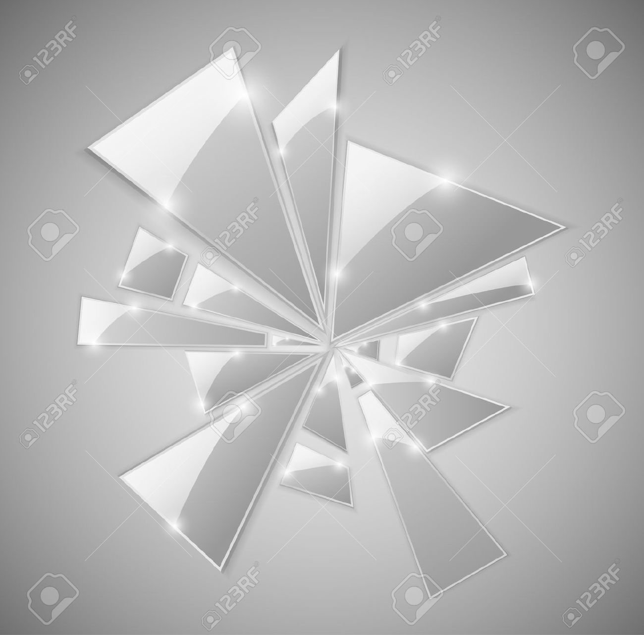 Triangular Shards Of The Broken Glass. Royalty Free Cliparts.