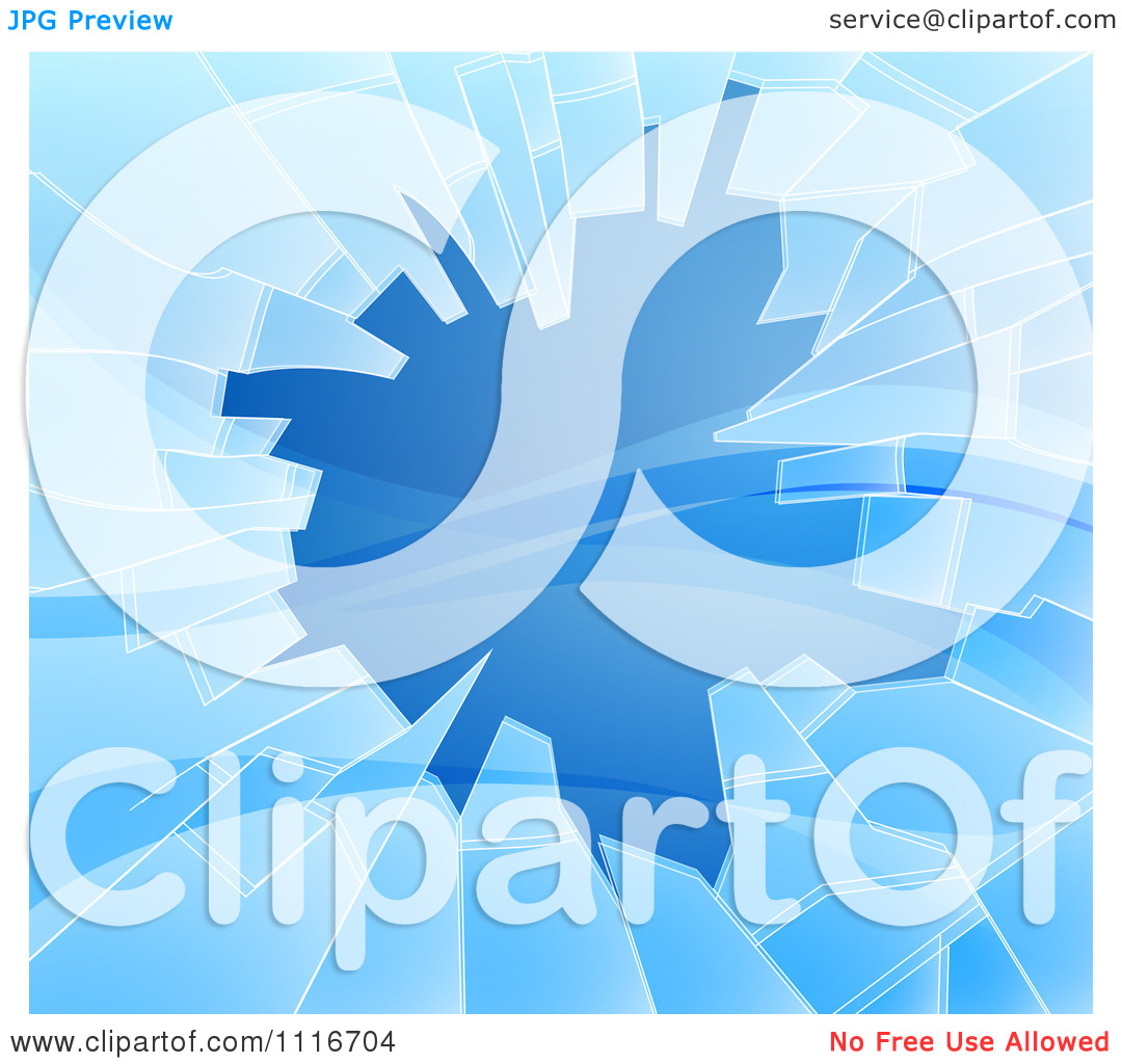 Vector Clipart Of A Background Of Shattered Blue Glass With Shards.
