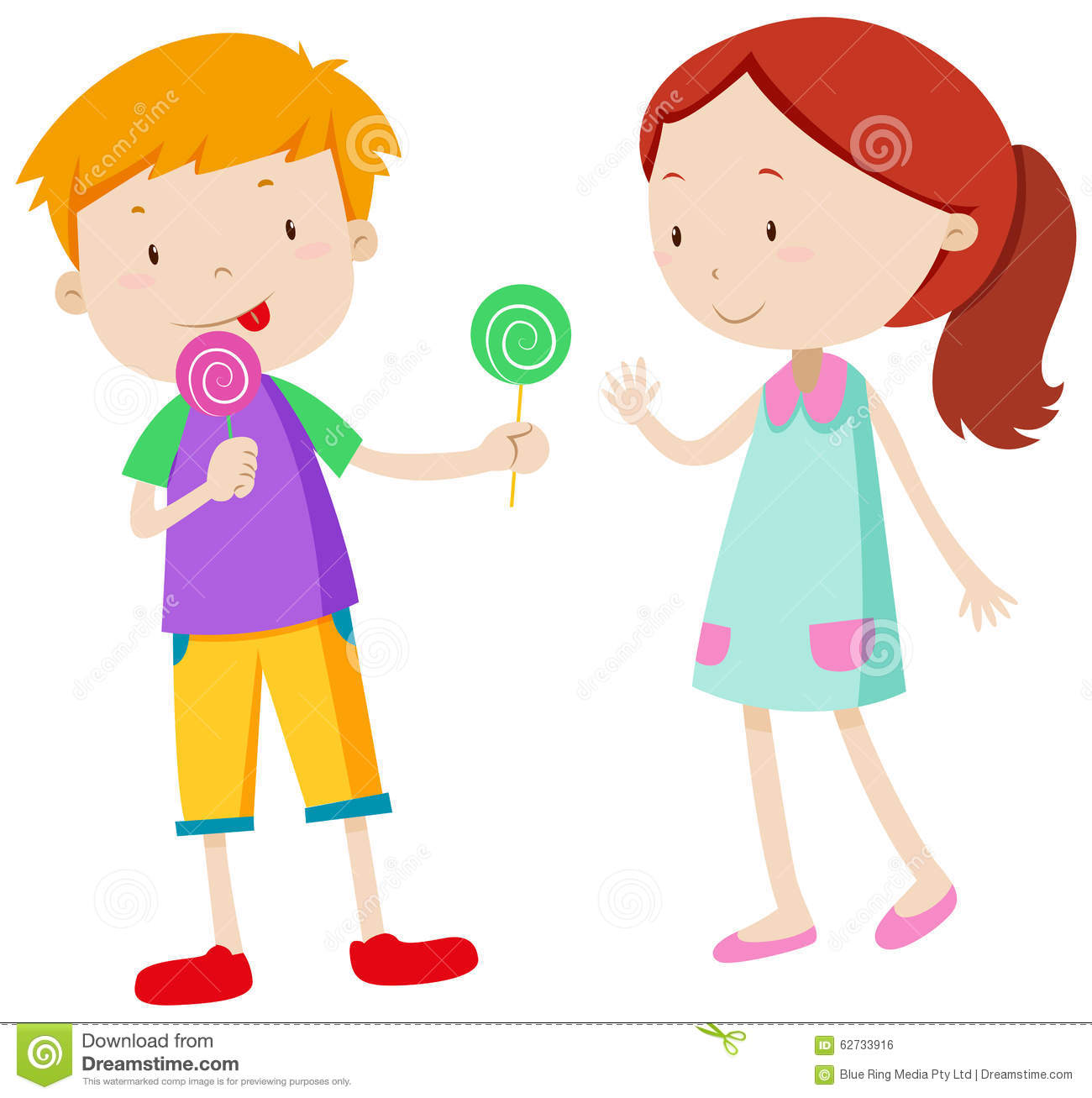 Boys and girls sharing food clipart.