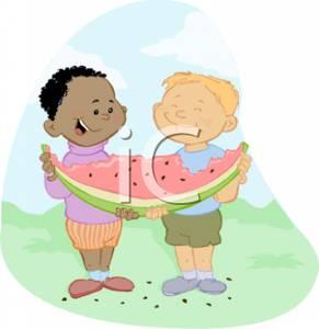 Children Sharing Food Clipart.