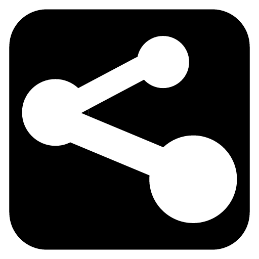 Black and White Share Icon PNG Image.