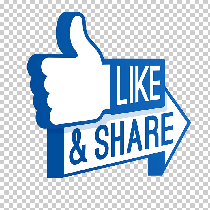 Like and Share, white and blue Like & Share logo.